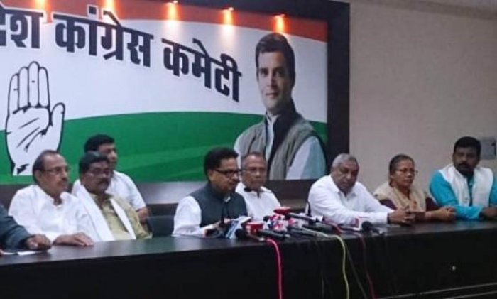 All India Congress Committee in-charge of Chhattisgarh P L Punia addressing a press conference in Raipur on Wednesday.