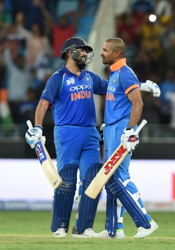 India's stand-in captain Rohit Sharma (left) and his opening partner Shikhar Dhawan will return for the final against Bangladesh to bolster batting. AFP