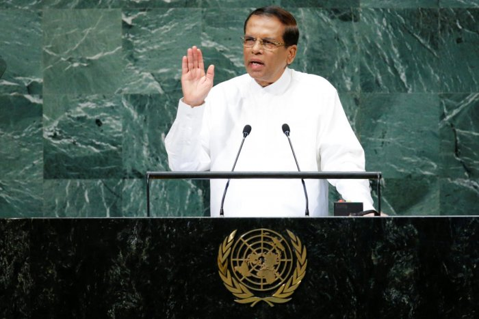 Sri Lanka's President Maithripala Sirisena addresses the 73rd session of the United Nations General Assembly at UN headquarters in New York on September 25, 2018. Reuters