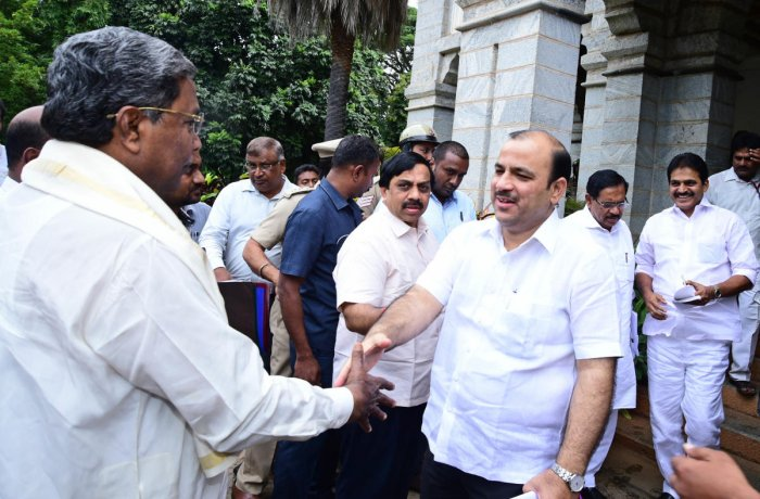 JD(S) national general secretary Danish Ali greets former chief minister Siddaramaiah ahead of the co-ordination committee meeting of the coalition government in Bengaluru on Thursday.