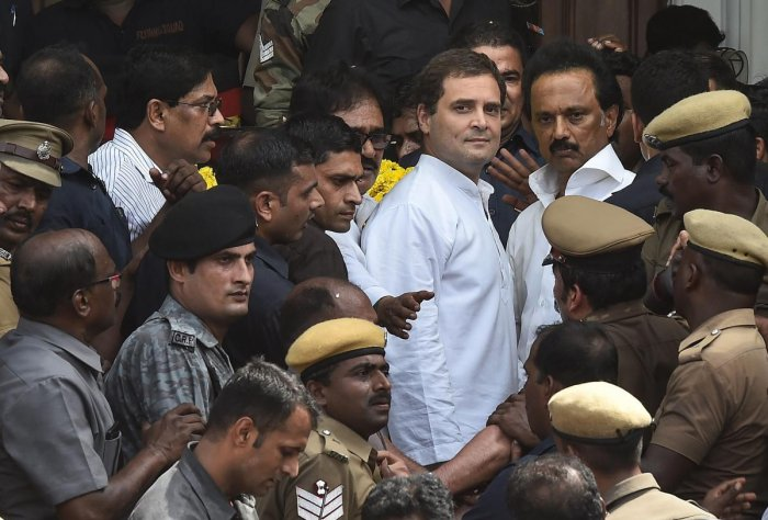 Congress president Rahul Gandhi with DMK Working President MK Stalin after paying his last respects to DMK chief M Karunanidhi, at Rajaji Hall in Chennai on Wednesday. PTI Photo