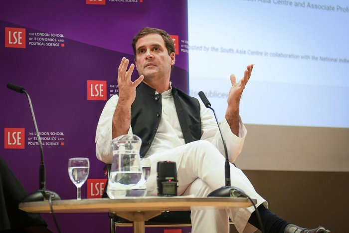 Congress President Rahul Gandhi speaks at an interactive session at London School of Economics, London on Friday, August 24, 2018. (PTI Photo)