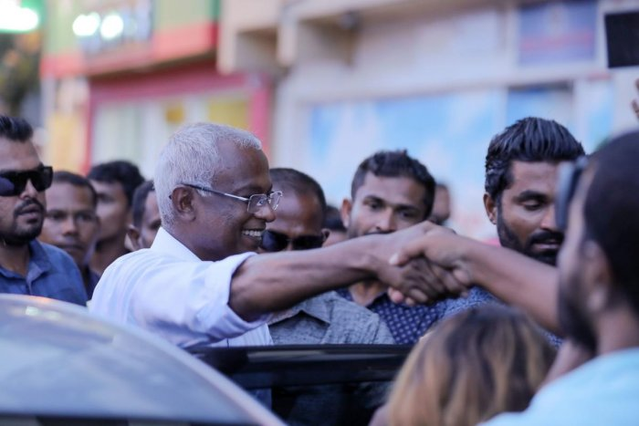 Ibrahim Mohamed Solih (centre) greets a crowd after winning Maldives' presidential election in Male on September 24, 2018. AFP