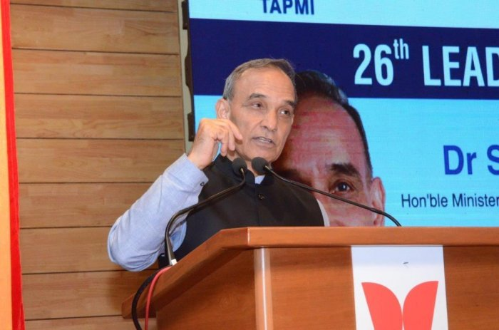 Union Minister of State for Human Resource Development Dr Satyapal Singh delivers a talk during the 26th Leadership Lecture series organised by the T A Pai Management Institute (TAPMI) in Manipal on Thursday.