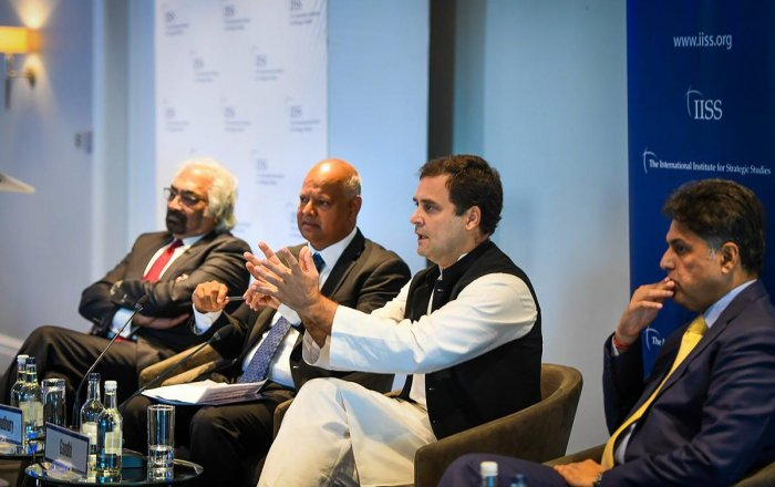 Congress President Rahul Gandhi in a panel at International Institute for Strategic Studies (IISS), in London on Friday, Aug 24, 2018. (INC Twitter via PTI)