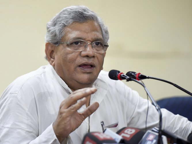 "Releasing four booklets on 'Four Years of Modi Govt Misrule: Why it has to End?', CPM general secretary Sitaram Yechury said under the NDA rule, people who have looted the country have ""happily fled"" when poor farmers have not got any relief. PTI file photo"