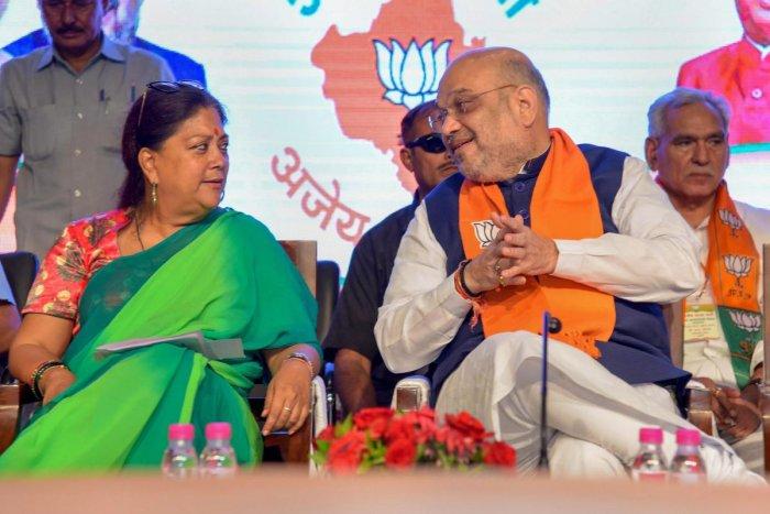 Bhartiya Janta Party President Amit Shah with Rajasthan Chief Minister Vasundhara Raje