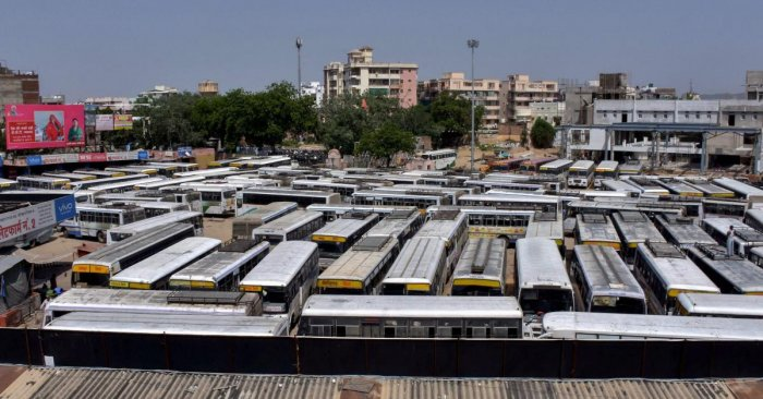 Buses parked at the Sindhi Camp Bus Depot, after Rajasthan Roadways employees went on a day-long strike to press for their demands, in Jaipur. PTI