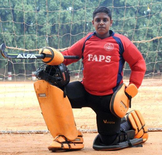 DREAMING BIG: Pranav Harish of FAPS was adjudged the best goalkeeper in the GS Randhawa Memorial tournament. DH Photo/Srikanta Sharma R