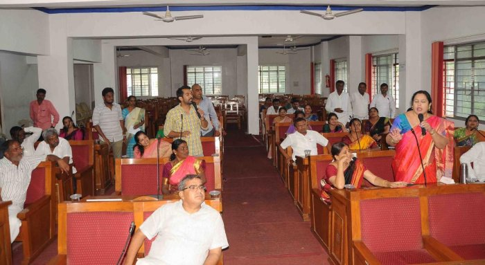 Zilla Panchayat member Bhavani Revanna speaks during the election to standing committees, in Hassan on Friday. dh photo