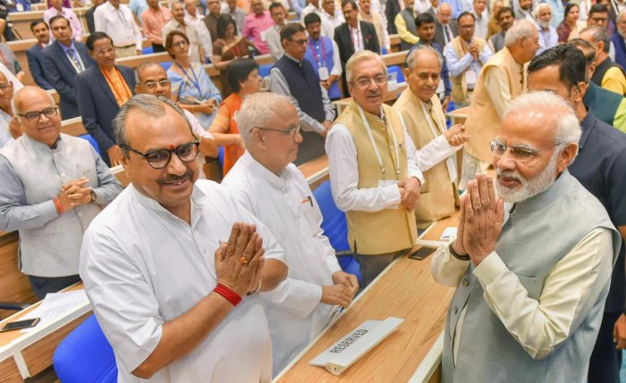 Prime Minister Narendra Modi during a conference on 'Academic Leadership on Education for Resurgence', at Vigyan Bhawan in New Delhi. PTI file photo