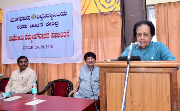 Former education minister Prof B K Chandrashekar speaks at a dialogue on secularism at Mangalore University on Saturday.