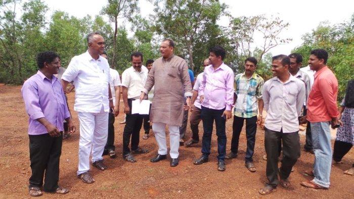 MLC Ivan D'Souza visited the demolished site of a shrine with Grotto of Our Lady of Velankanni at Kulalu Kuntrakala, Vittal, Dakshina Kannada district, on Saturday.
