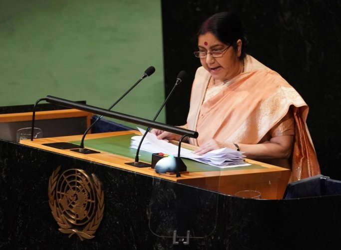 Foreign Minister Sushma Swaraj addresses the 73rd United Nations General Assembly on September 29, 2018, at the United Nations in New York. (AFP Photo)