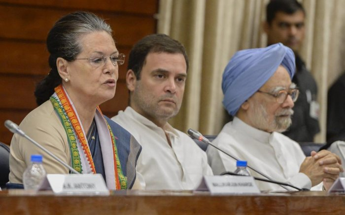 Former Congress president Sonia Gandhi, president Rahul Gandhi and former prime minister Manmohan Singh. (PTI Photo)