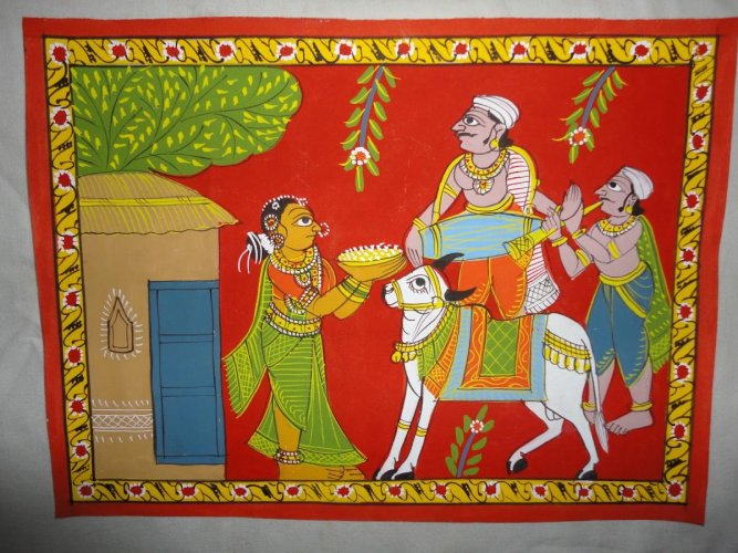 Known for themes: A Cheriyal painting depicts a rural setting.