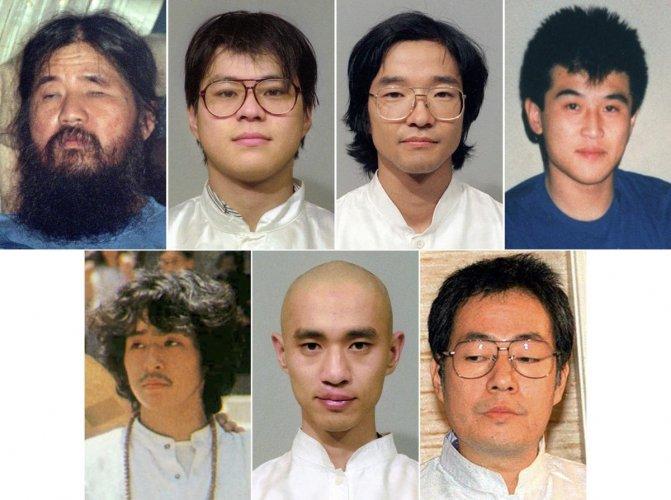 This combination of file photos shows Aum Shinrikyo cult leader Shoko Asahara, from top left to right, his cult members, Tomomasa Nakagawa, Seiichi Endo, and Masami Tsuchiya. Other members from bottom left to right, Yoshihiro Inoue, Tomomitsu Nimi, and Ki