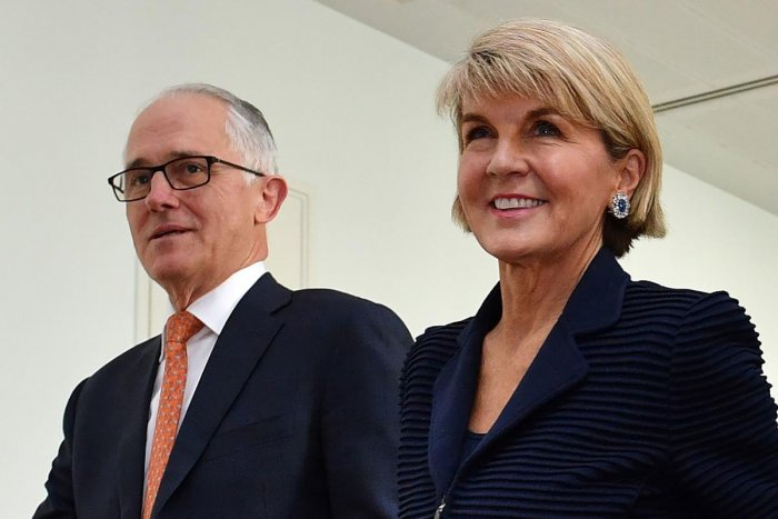 Australia's Foreign Minister Julie Bishop (right) with Malcolm Turnbull after a party meeting in Canberra on August 24, 2018. AFP