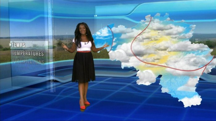 Cecile Djunga, the weather presenter at state broadcaster RTBF.