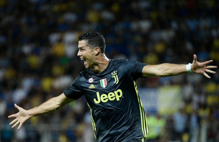 Juventus' Cristiano Ronaldo celebrates after scoring against Frosinone on Sunday. AFP
