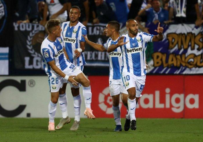 Leganes' Nabil El Zhar celebrates after scoring against Barcelona on Wednesday. REUTERS