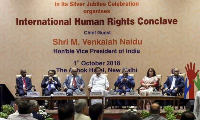 Vice President M Venkaiah Naidu (c), National Human Rights Commission (NHRC) Chief Justice H L Dattu (3rd R) and others during the silver jubilee celebration at NHRC, in New Delhi on Monday, Oct 01, 2018 (PTI Photo)