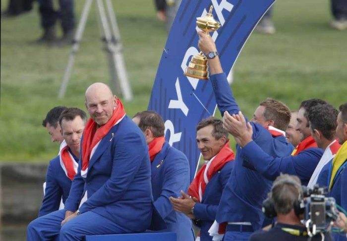 Europe's finest golfers, sparked by a record-setting show by Italy's Francesco Molinari, recaptured the Ryder Cup on Sunday, denying a dramatic United States fightback to complete an emotional 17.5-10.5 upset victory. (Reuters Photo)