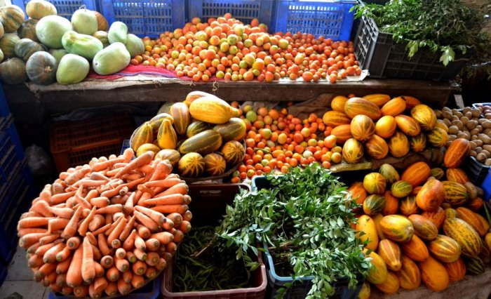 Vegetables for sale at a Hopcoms stall in Madikeri.