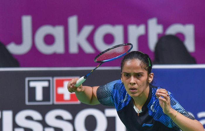 Saina Nehwal in action against Indonesia's F Fitriani during women's singles round badminton match at the 18th Asian Games 2018 in Jakarta, Indonesia on Saturday, Aug 25, 2018. (PTI Photo)