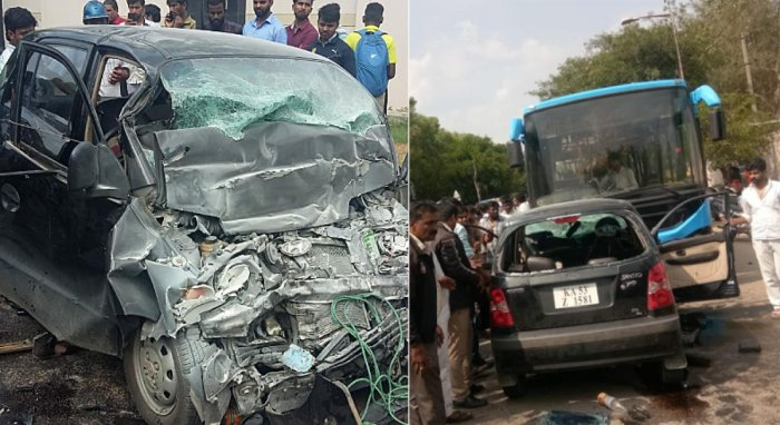 Mangled remains of the Santro cas which collied with BMTC bus on Doddanekundi main road near ISRO on Old Airport road of HAL police limits in Bengaluru on Wednesday. Four people were died in an accident and one injured.