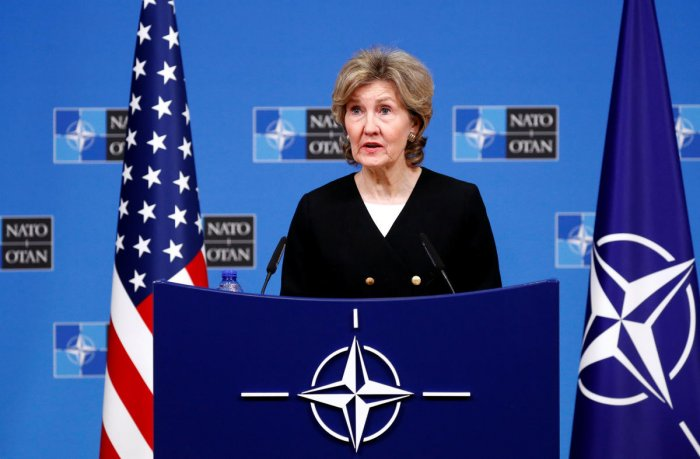 US Ambassador to Nato Kay Bailey Hutchison briefs the media ahead of a Nato defence ministers meeting at the Alliance headquarters in Brussels, Belgium, on October 2, 2018. Reuters