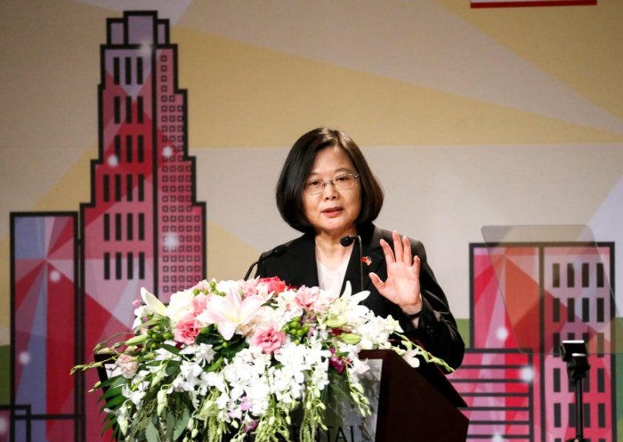 Taiwanese President Tsai Ing-wen speaks in the Los Angeles Overseas Chinese Banquet during visit to the United States on August 12, 2018. Reuters