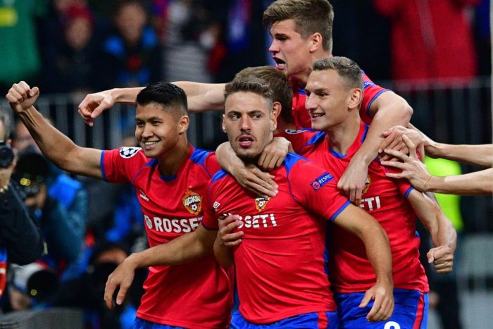 BOLT FROM THE BLUE: CSKA Moscow's Nikola Vlasic (centre) celebrates with team-mates after scoring against Real Madrid on Tuesday. AFP