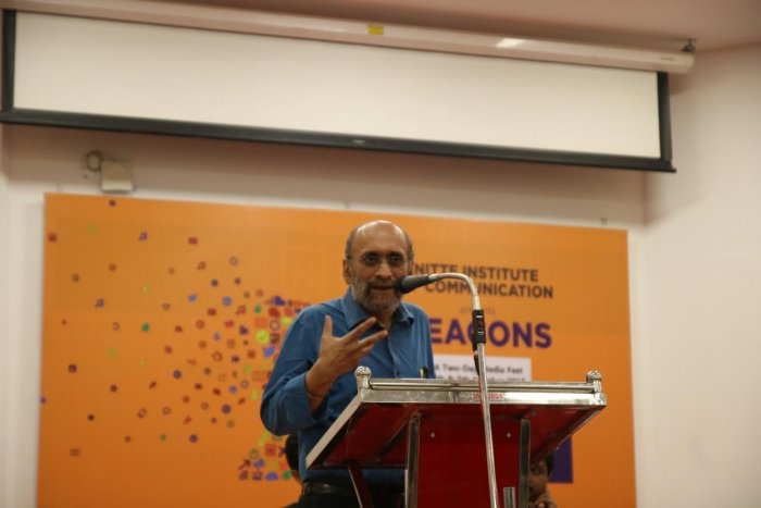 Journalist Paranjoy Guha Thakurta delivers the inaugural address at the media fest 'Beacons' at Nitte Institute of Communication in Paneer.