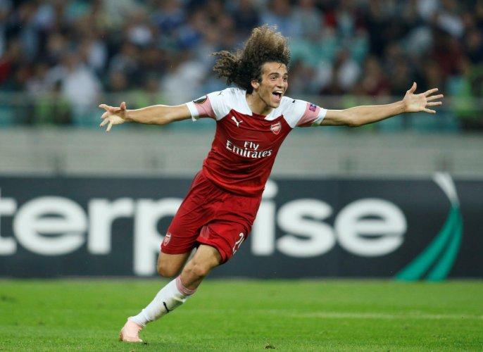 Arsenal's Matteo Guendouzi celebrates scoring their third goal against Qarabag in Baku Olympic Stadium in Baku, Azerbaijan. (REUTERS)