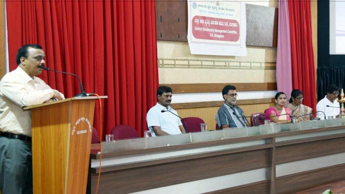 Social Forestry Department DCF J Srinivasmurthy speaks at a workshop.
