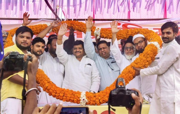 """Samajwadi Secular Morcha leader Shivpal Yadav Saturday ruled out forming an alliance with the BJP in Uttar Pradesh, saying """"we are secular people"""" and there was no question of allying with the ruling party. PTI file photo"""