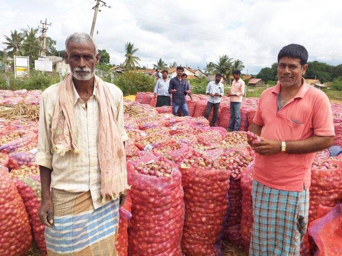 Farmers with onion produce.