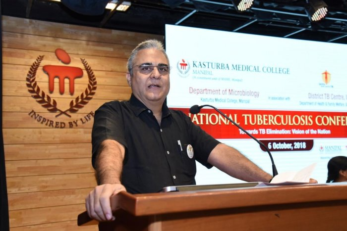 Dr Kuldeep Singh Sachdeva, deputy director general, Central TB Division, speaks at a conference on tuberculosis in Manipal on Saturday.