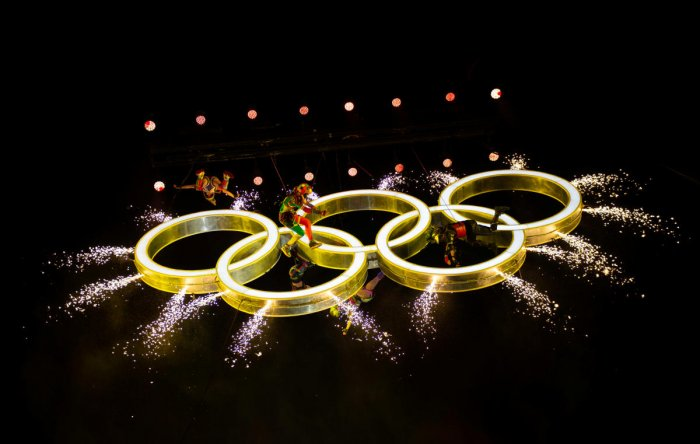 The Olympic Rings appear in the air as actors perform around them during the opening ceremony of the Youth Olympic Games in Buenos Aires on Sunday. Reuters