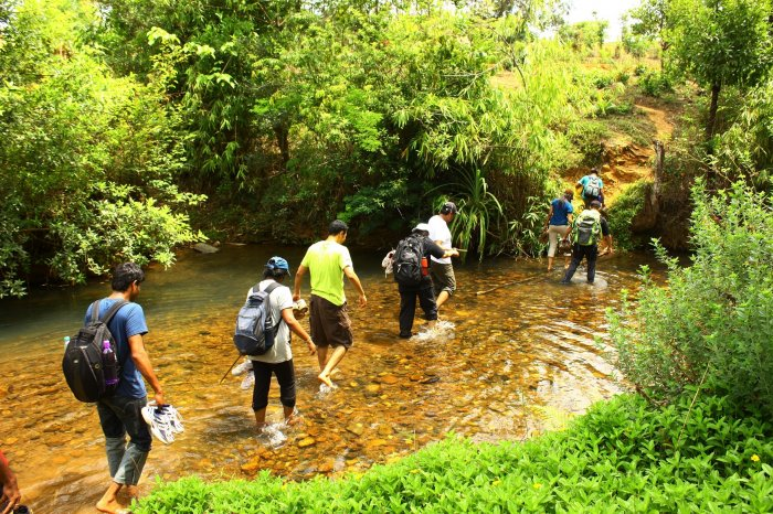 A group of youth on a trek conducted by Bhoomi's Sharavathi Rainforest Education Centre