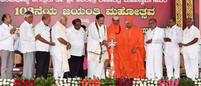 Vice President of India Venkaiah Naidu inaugurating the celebration of the Dr Sri Shivaratri Rajendra Swamiji's 103rd Jayanti Mahotsava, organised by Sri Veerasinhasana Mahasamstana Math at Suttur in Mysuru on Tuesday. MLA Yatindra Siddaramaiah, Ministers