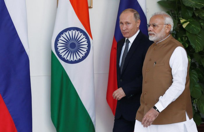 Russian President Vladimir Putin and India's Prime Minister Narendra Modi arrive ahead of their meeting at Hyderabad House in New Delhi, India on October 5, 2018. REUTERS
