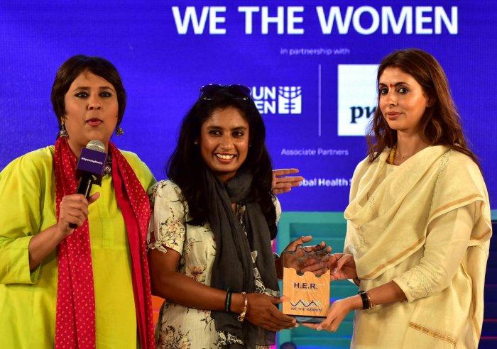 (L-R) Journalist Barkha Dutt, cricketer Mithali Raj and model Shweta Bachchan Nanda at 'We The Women' on Sunday.