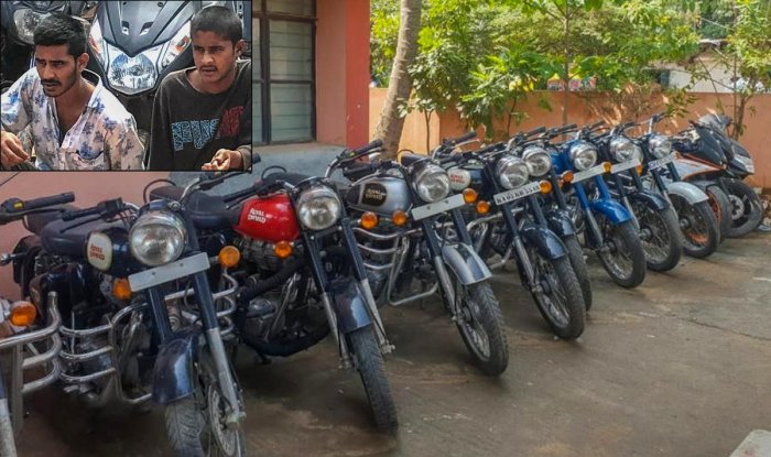 The Varthur police have arrested Azmath Khan and Santhosh (inset), notorious bike lifters, who stole expensive vehicles to make quick money. The police have recovered 16 bikes worth Rs 30 lakh from the accused.