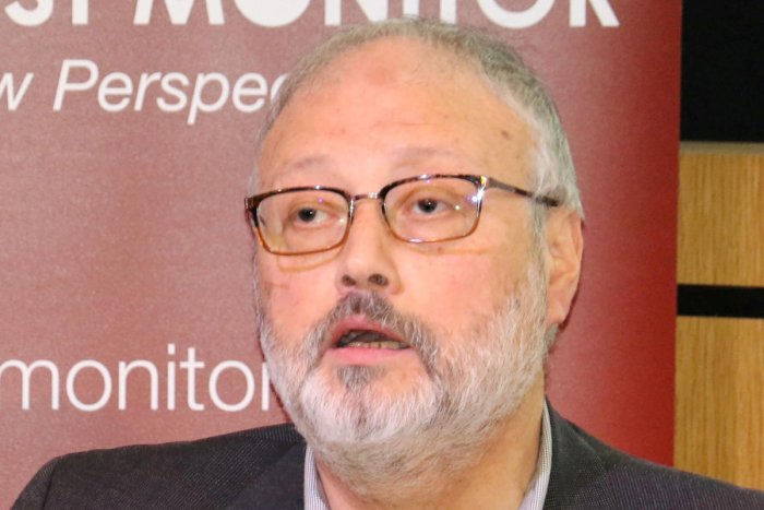 Saudi dissident Jamal Khashoggi speaks at an event hosted by Middle East Monitor in London, Britain, September 29, 2018. (Middle East Monitor/Handout via REUTERS)