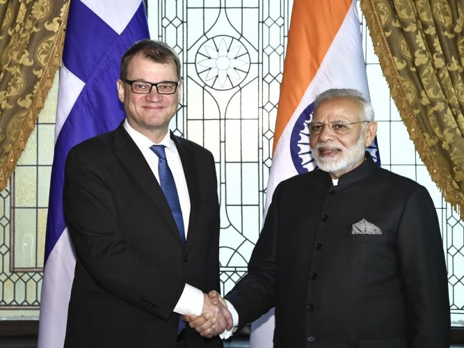 Prime Minister of Finland Juha Sipila meets with India's Prime Minister Narendra Modi as part of a Nordic-Indian summit on April 17, 2018 at the Grand Hotel in Stockholm, Sweden. (AFP FILE PHOTO)