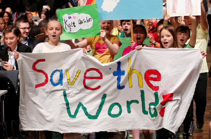 Children are seen during climate march prior to the opening session of the COP23 UN Climate Change Conference 2017 in World Conference Center Bonn, Germany. REUTERS file photo