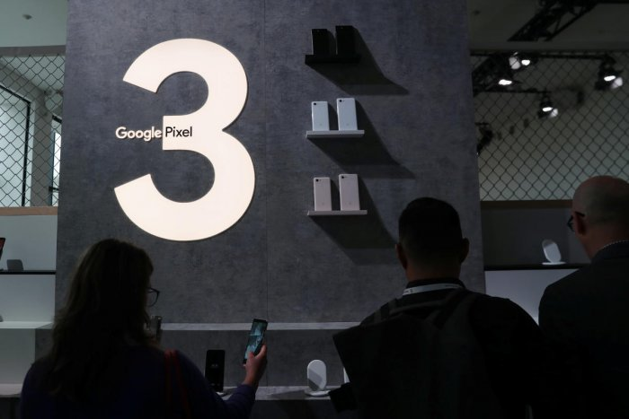 The Google Pixel 3 third generation smartphones are seen on display after a news conference in Manhattan, New York, October 9, 2018. (REUTERS)