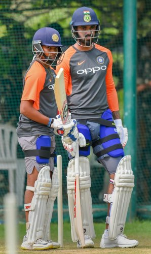 Prithvi Shaw and Lokesh Rahul during a practice session ahead of the second India-West Indies Test match in Hyderabad on Wednesday. PTI